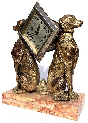 Lovely Antique Figural Art Deco Clock Featuring Two Dogs Flanking The Dial