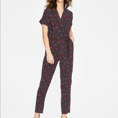 BODEN Womens Frederica Jumpsuit, Daisy Field 8P Navy Red NWT