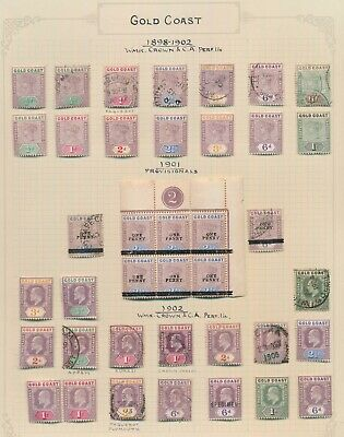 Gold Coast Stamps 1898-1902 Qv & Kevii Page To 10/-, Good Cancels