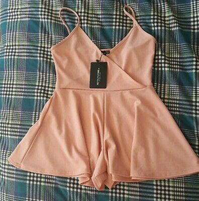 Pretty Little Thing Pink Crepe Strappy Wrap Playsuit, Size 10