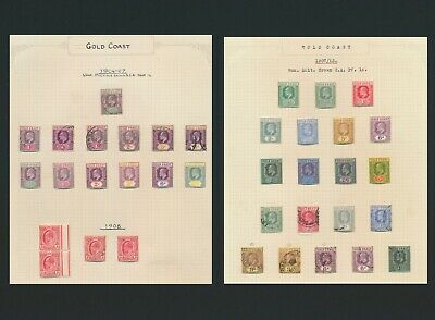 Gold Coast Stamps 1904-1913 Kevii To 5/-, 2 Very Attractive Pages