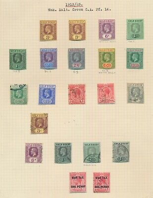 Gold Coast Stamps 1913-1923 Kgv Crown Ca To 10/- Page