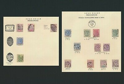 Gold Coast Stamps 1893-1901 Qv Study Of Cancels Inc Addah Seal, 2 Pages