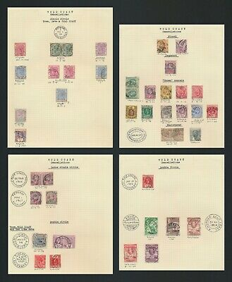 Gold Coast Stamps 1895-1940 4 Pages, Qv-Kgvi Study Of Cancels Inc Paquebot