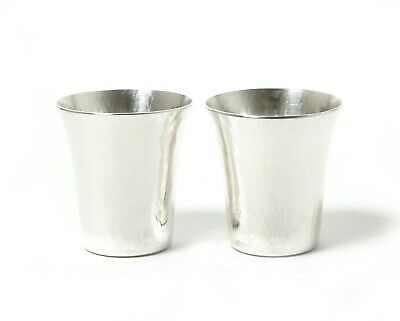 Silver vodka cups (shot cups), forged, 2 pcs. Was imported to Sweden.