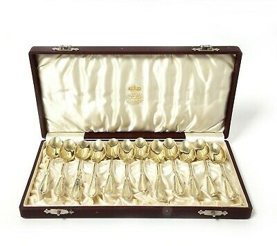 Small teaspoons, 12 pcs. Silver, gilding.  Sweden, Stockholm, 1910.