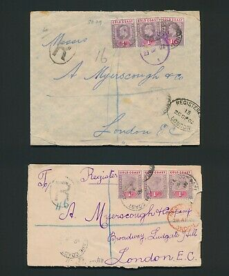 1902 Gold Coast Covers Qv & Kevii Registered To London