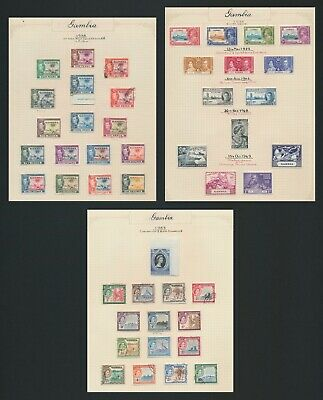 Gambia Stamps 1935-1953 3 Fine Stamp Album Pages Inc 1938 Kgvi Set To 10/-
