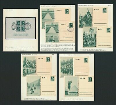 Germany Stamps 1937 3Rd Reich Hitler Nuremberg Congress M/S & Mint Postcards