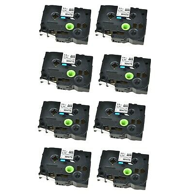 8PK Heat Shrink Cartridge Label Black on White HSe221 For Brother P-Touch 3//8/""