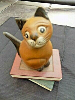 "Hand Carved Wooden Forlorn Cat Sitting On Books 5""L x 7""H Figure"