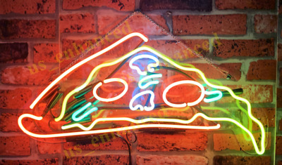 Delicious Dripping Pizza Slice Real Neon Sign Bed Room Home Decor Beer Bar Light