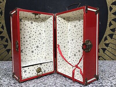 Excellent 1950s Red Metal Ginny Doll Trunk Case