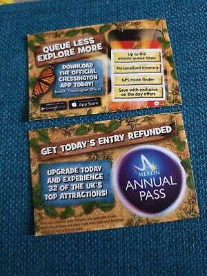 2 X Chessington World Of Adventures Tickets, 30Th April 2020 Thursday