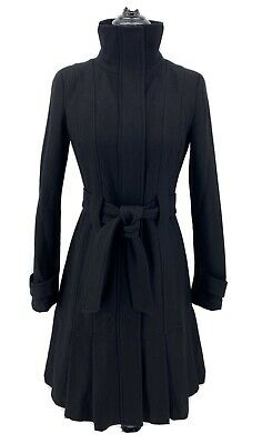 Calvin Klein Woman's Size 2 Wool Blend Black Trench Coat Pleated Belt Career