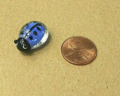 Tiny Blown Glass Ladybug Blue Bug Collectible Insect Figure Glass