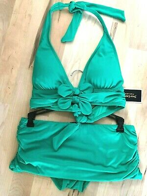 Juicy Couture Bow Chic Halter Skirted Bikini swimsuit S NWT