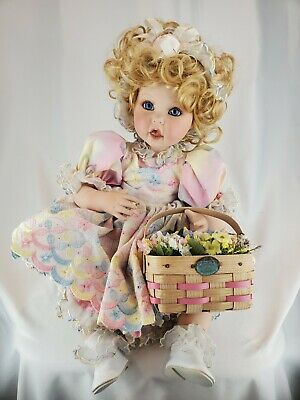 """Marie Osmond Basket And Blooms Baby 13"""" Porcelain Doll #1348/3500"""