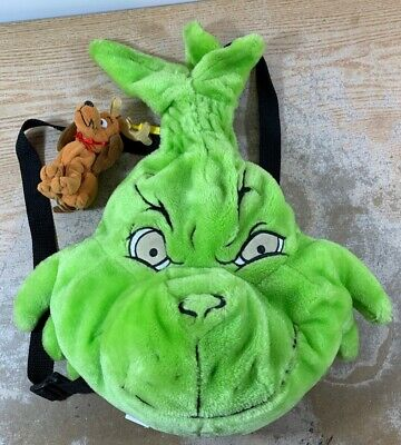 The Grinch Plush Backpack How the Grinch Stole Christmas Eyes Glow W/ Max Clip
