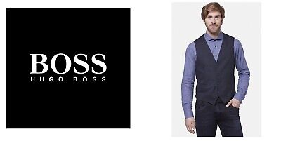 New Hugo Boss blue designer suit shirt waistcoat waist coat 40R 50 Large £129
