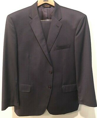 Jos A Bank Navy Blue w/Blue Pinstripes Suit Signature Gold 46 R Traditional