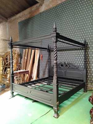 UK King size 5' GOTHIC BLACK Queen Anne style four poster mahogany bedframe