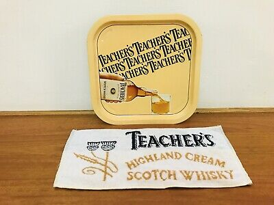 Vintage Teachers Scotch Whisky Metal Tray and Bar Runner Towel
