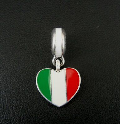 Pandora Charm Italy Flag Heart Enamel Authentic Solid Silver Sterling 925 Charm