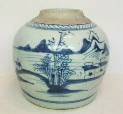 Antique Chinese Blue & White Porcelain Ginger Jar, Early No Lid