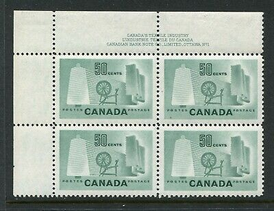 CANADA Scott 334 - NH - UL Plate 1 - 50¢ Textile Industry (.023)