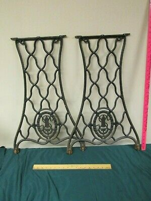 Pair of Antique Cast Iron Singer Treadle Sewing Machine Legs