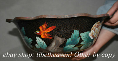 """12.4"""" Rare Old Chinese Cloisonne Copper Imperial Palace Peony Flower Bird Bowl"""