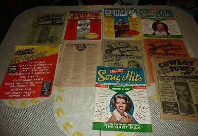 Vtg 50's Lot of 9 Hit Songs Magazines Cowboy Sings Country Song Roundup Etc S-39