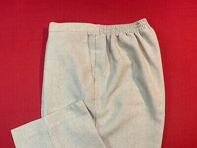 ALFRED  DUNNER .. Pull On Partial Elastic Pants . Beige . Petite Size 12P .. NEW