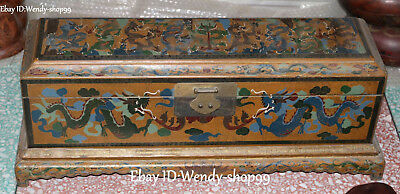 Large China Dynasty Wood Lacquerware 9 Dragon Dragons Treasure box Jewelry boxes
