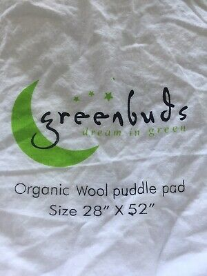 Organic Greenbuds Cotton and Wool Filled Crib Mattress Topper/Puddle Pad