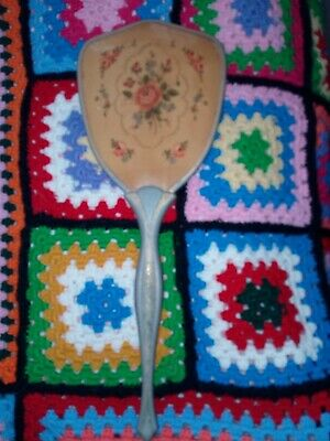 VINTAGE  HAND HELD MIRROR with FLORAL pattern