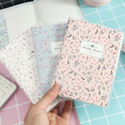 """Flowers Memory"" 1pc Rubber Cover Monthly Planner Agenda Journal Lined Free Note"