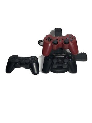 Sony Playstation 3 PS3 Lot Of 3 DualShock Sixaxis Wireless Controllers Charge St