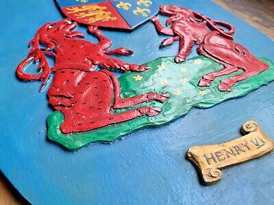 VINTAGE hand made HERALDIC CREST WALL PLAQUES coat of arms wooden regal shields
