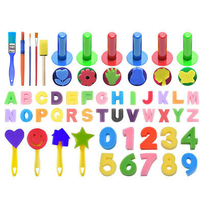 51/18x Kids Painting Brushes Sponges Paint Apron Brush Set for Children Toddler