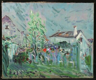 The Jardin of Verneuil Antique Large Oil on Canvas Signature Signed and Located