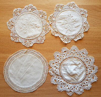 Doilies (4), white. 2 matching, 2 different, vintage