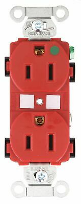 Bryant 15,  Hospital Grade,  Receptacle,  Red,  No Tamper Resistant Red  Nylon