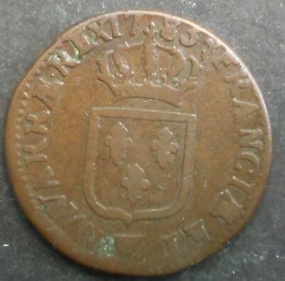 France 1783 Louis XVI Sol Lille  coin    NICE