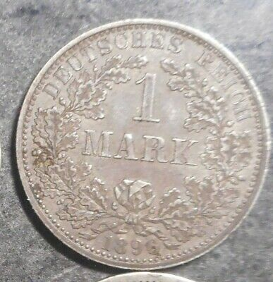 Germany  1896 A  1 Mark Silver  Coin Better  detail & grade