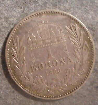 Hungary 1896 Korona Silver Coin Better  detail