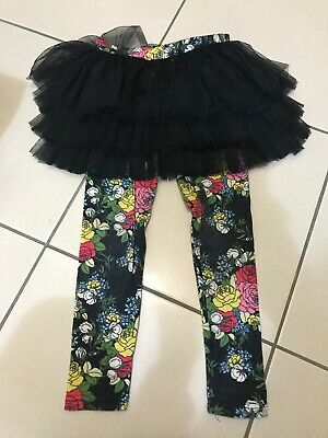 Rock Your Baby Circus Leggings Black Floral Print Size 5