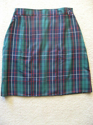 Girls Pleated School Green/Navy Check Skirt Uniform size 8 New