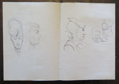 Antique Drawing a Pen on Basket Studio for Faces Human Opera Original P28.5